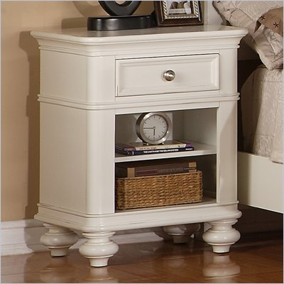 Riverside Furniture Evening Tide 1-Drawer Nightstand in Captiva White