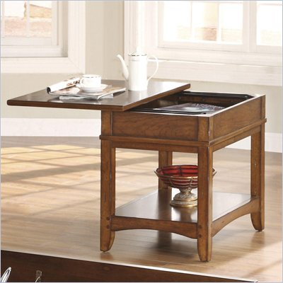 Riverside Falls Village Sliding Top End Table in Distresed Cherry