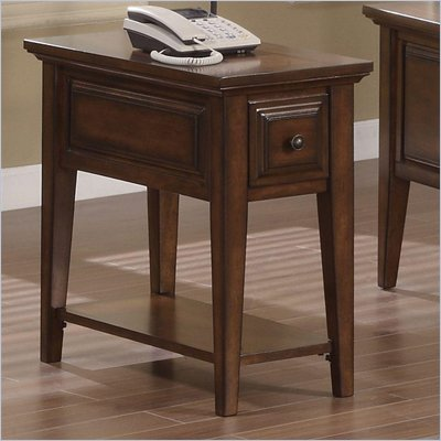 Riverside Furniture Hilborne Chairside Table in Burnished Cherry