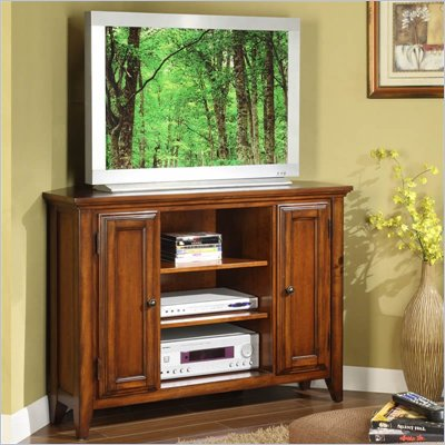 Riverside Furniture Hilborne 44 Inch Corner TV Stand in Burnished Cherry