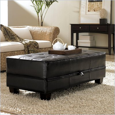 Riverside Furniture Leather Occasional Large Cocktail Storage Ottoman in Black