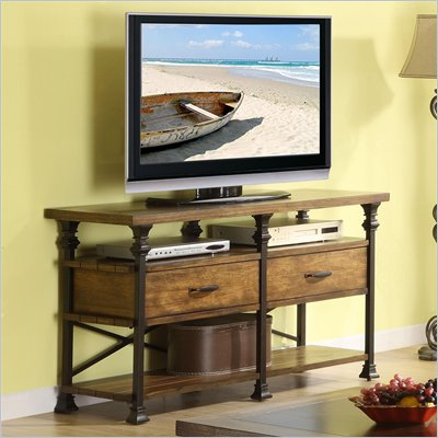 Riverside Lennox Street TV Console Table in Landmark Worn Oak