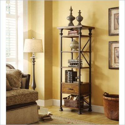 Riverside Furniture Lennox Street Etagere in Landmark Worn Oak
