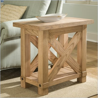 Riverside Furniture Napa Valley Chairside Table in Champagne Ash