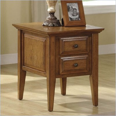 Riverside Furniture Oak Ridge 2 Drawer End Table in Warm Oak