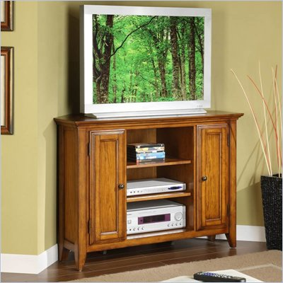 Riverside Furniture Oak Ridge 44 Inch Corner TV Stand in Warm Oak