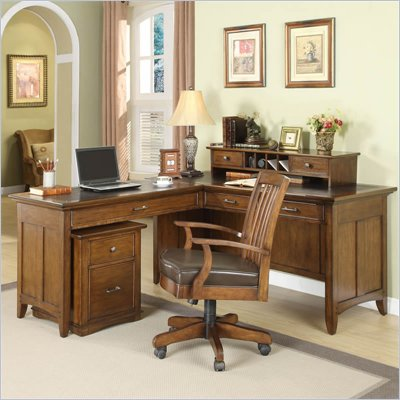 Riverside Furniture Oakton Village L-Desk with Deck in Distressed Oak