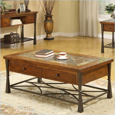 Riverside Furniture Santos Rectangular Cocktail Table in Worn Alder