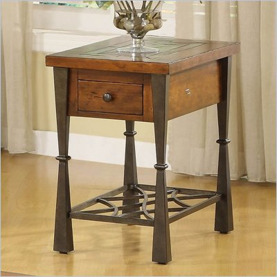 Riverside Furniture Santos Rectangular End Table in Worn Alder