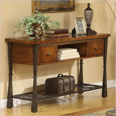 Riverside Furniture Santos Sofa/Console Table in Worn Alder