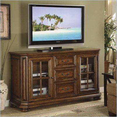 Riverside Furniture Seville Square 60 Inch High Waist TV Stand in Warm Oak