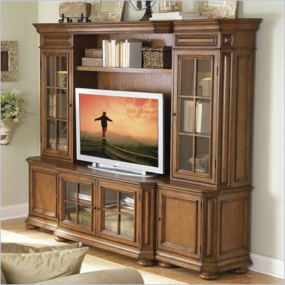 Riverside Furniture Seville Square Warm Oak 48 Inch TV Stand Entertainment Wall System