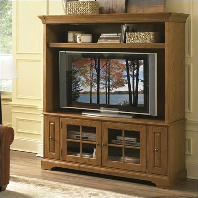 Riverside Furniture Visions 64 Inch TV Stand with Deck in Medium Distressed Oak