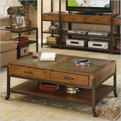 Riverside West End  Drawer Cocktail Table in Heirloom Russet 