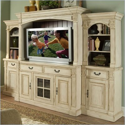 Riverside Furniture Weybridge 64 Inch TV Stand Entertainment System in Madera Cherry and Wellington White