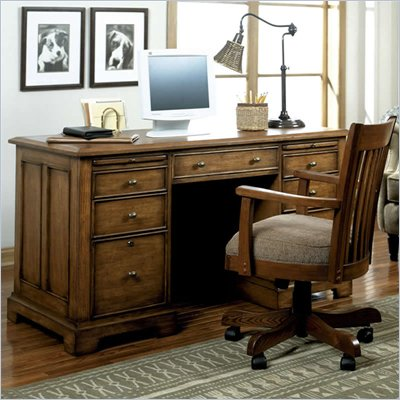 Riverside Furniture Woodland's Oak 56 Inch Flat Top Desk
