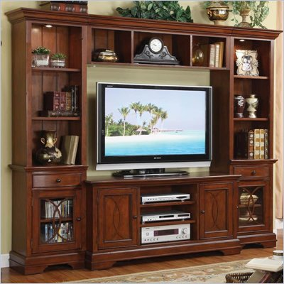 Riverside Furniture Yorktown TV Entertainment System in Vintage Cherry