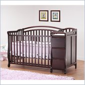 Orbelle Eva 4-in-1 Convertible Wood Crib and Changer Set in Cherry