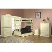 Orbelle Imperial Bunk Bed 4 Piece Bedroom Set in French White