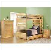 Orbelle Imperial Twin Over Twin Bunk Bed 3 Piece Bedroom Set in Natural Wood