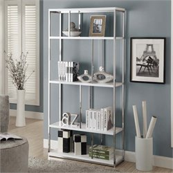 Monarch 4 Shelf Bookcase in Glossy White and Chrome