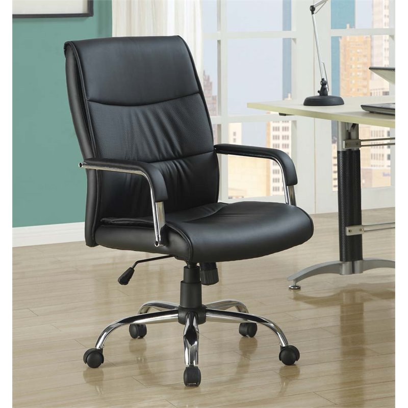 Monarch Faux Leather Office Chair in Black