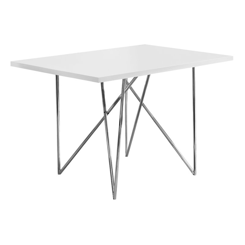 Monarch Dining Table in White and Chrome