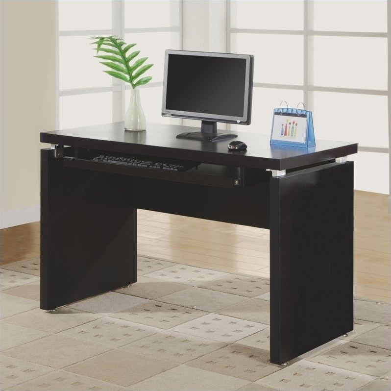Flow Wood Computer Credenza Desk in Cappuccino Finish