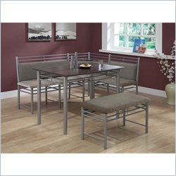 Monarch 3 Piece Breakfast Corner Nook Set in Cappuccino and Silver