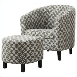 Monarch Curved Back Accent Barrel Chair and Ottoman in Gray and White