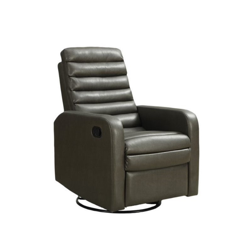 Monarch Quilt Back Swivel Glider Leather Recliner In Charcoal Gray