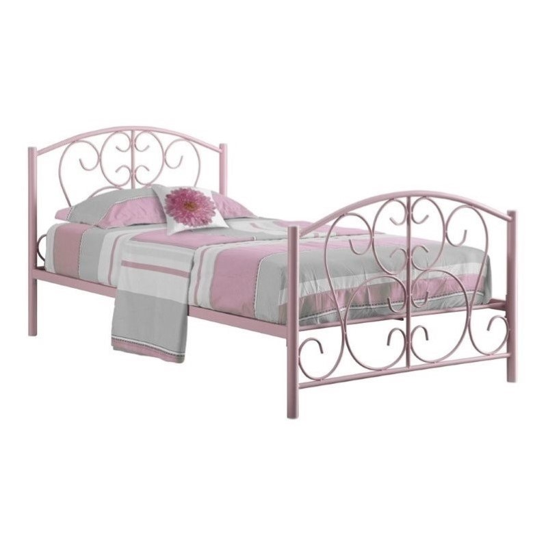 Monarch Twin Metal Bed Frame in Pink