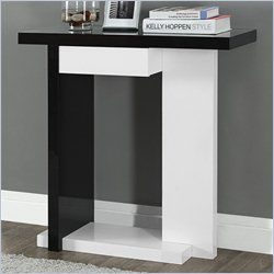 Monarch Console Accent Table in Glossy White and Black