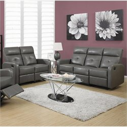 Monarch 2 Piece Button Tuft Reclining Glider Leather Sofa Set in  Gray