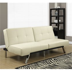 Monarch Leather Tufted Split Back Convertible Sofa in Ivory