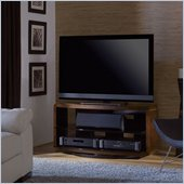BDI Valera Double Wide 3 Shelf Swivel TV Stand in Chocolate Walnut