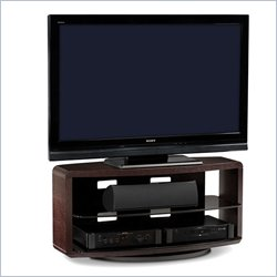 BDI Valera Double Wide 3 Shelf Swivel TV Stand in Espresso Oak
