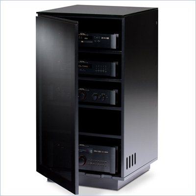 BDI Mirage AV Tower in Black Finish