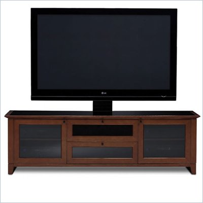 BDI Novia LCD/Plasma Glass Top TV Stand in Cocoa Stained Cherry