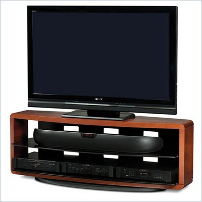 BDI Valera Triple Wide 3 Shelf TV Stand in Natural Stained Cherry