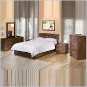 Nexera Nocce Wood Platform Bed 5 Piece Bedroom Set in Truffle