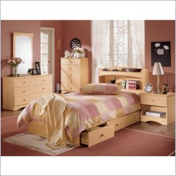 Nexera Alegria Wood Mate Captain&#039;s Storage Bed 5 Piece Modern Bedroom Set in Natural Maple Best Price