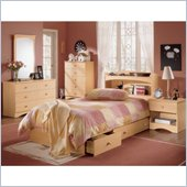 Nexera Alegria Wood Mate Captain's Storage Bed 5 Piece Modern Bedroom Set in Natural Maple