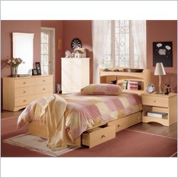Nexera Alegria Wood Mate Captain&#039;s Storage Bed 4 Piece Bedroom Set in Natural Maple Best Price