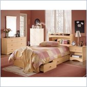Nexera Alegria Wood Mate Captain's Storage Bed 4 Piece Bedroom Set in Natural Maple