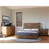 Nexera Nocce Wood Platform Bed 3 Piece Bedroom Set in Truffle