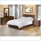 Nexera Nocce Wood Platform Bed 4 Piece Bedroom Set in Truffle