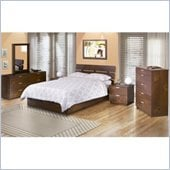 Nexera Nocce Platform Bed 6 Piece Bedroom Set in Truffle Finish
