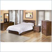 Nexera Nocce Wood Platform Bed 5 Piece Bedroom Set in Truffle Finish