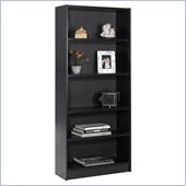 Nexera Essentials 5 Shelf Tall Wood Bookcase in Black